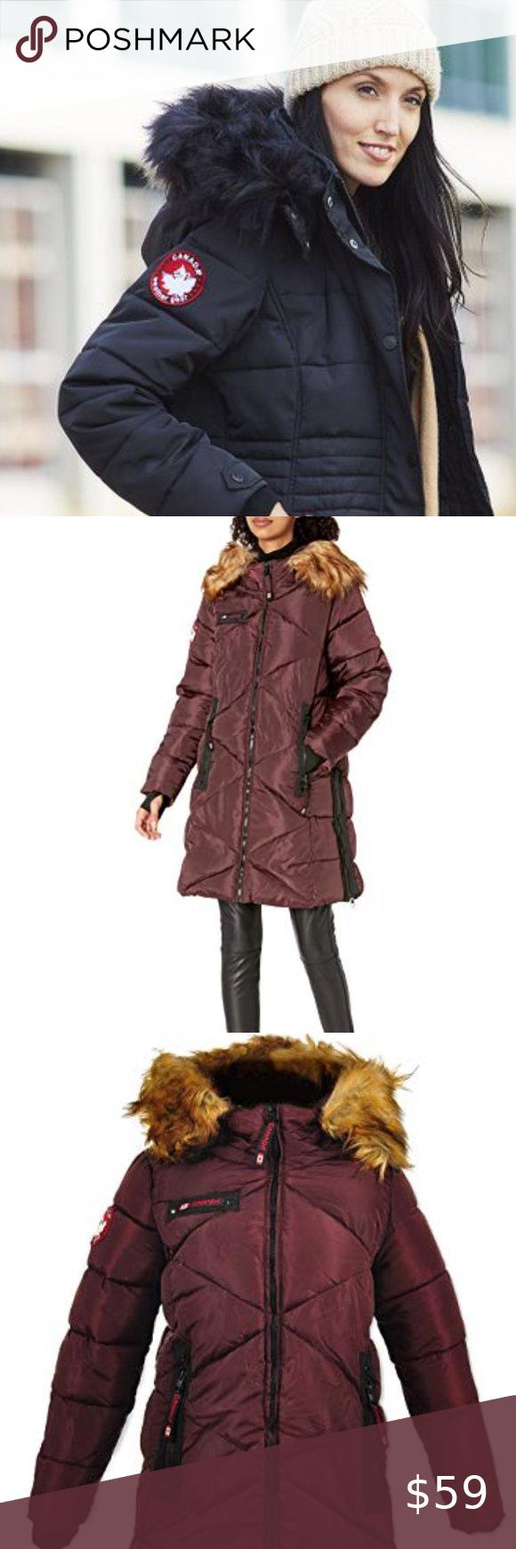 Canada Weather Gear Faux Fur Collar Puffer Jacket Faux Fur Collar Puffer Faux Fur Hood [ 1740 x 580 Pixel ]