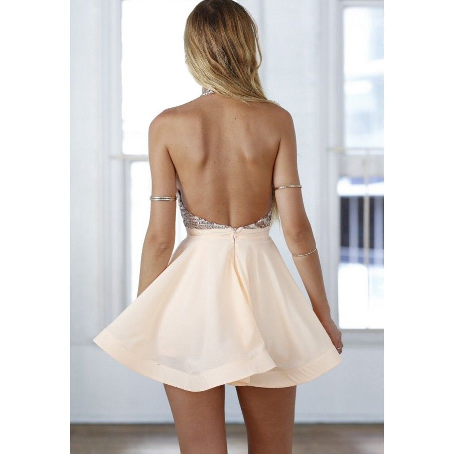 Sexy Halter Short Rose Gold Sparkly Homecoming Dress/Cocktail Dress ...
