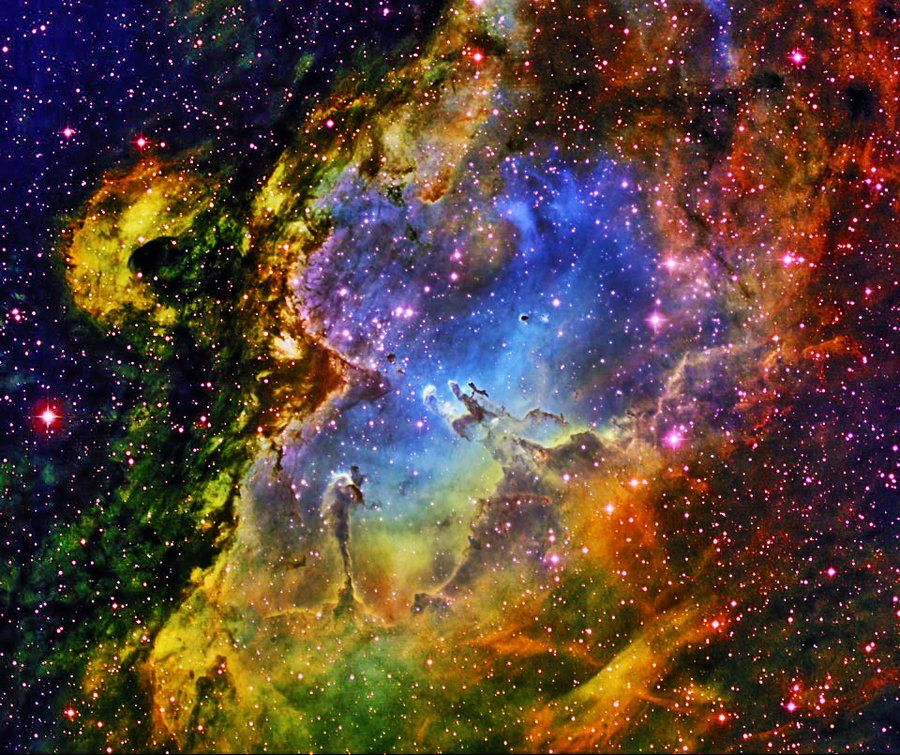 The Pillars of Creation at the heart of the Eagle Nebula are gaseous nurseries for newborn stars