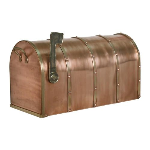 Riveted Post Mount Copper Mailbox With Brass Accents Standard Antique Copper Copper Mailbox Mailboxes For Sale Brass Accents