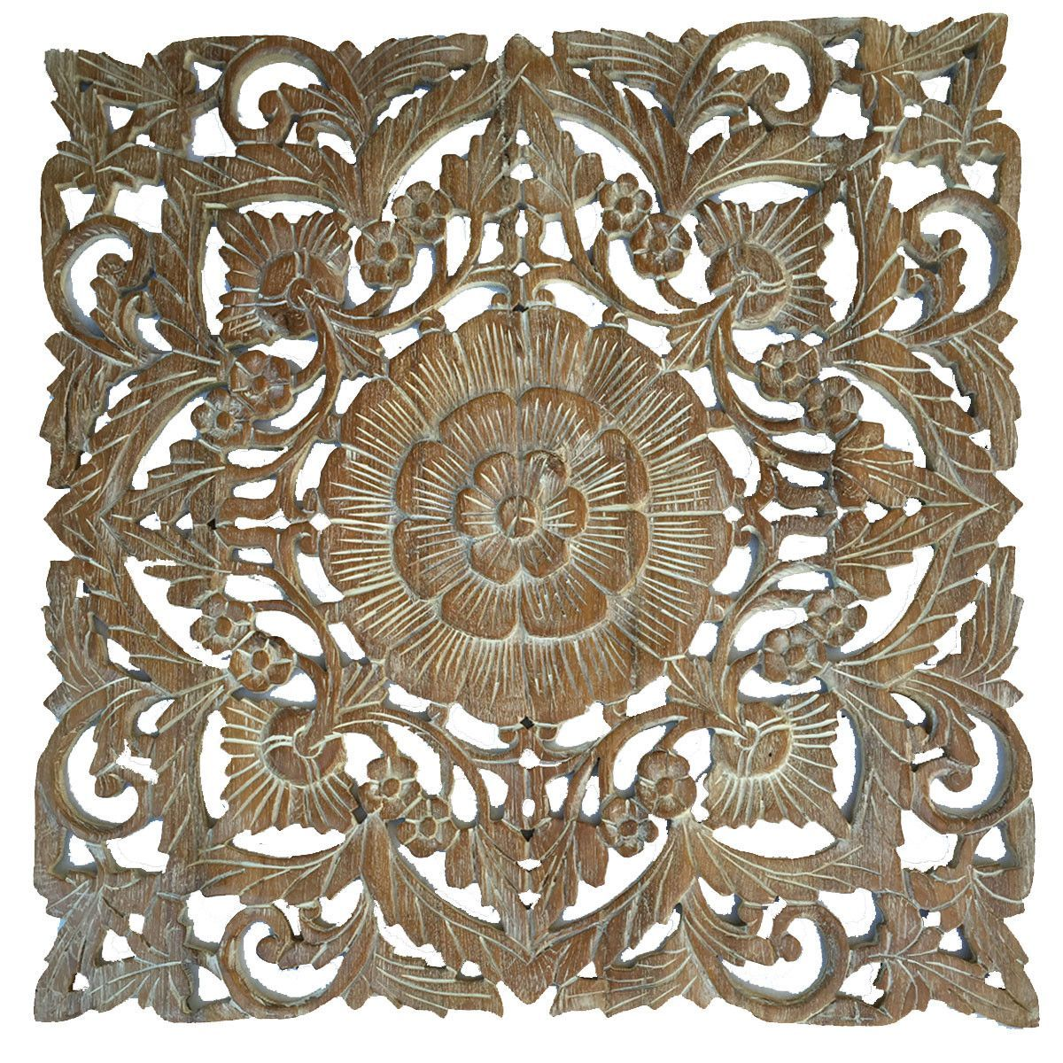 Oriental carved floral wall decor unique asian wood wall art large square carved wood