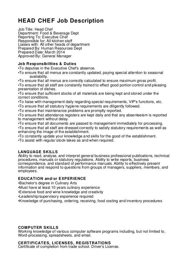 Chef Responsibilities Head Chef Job Description Sampleresume