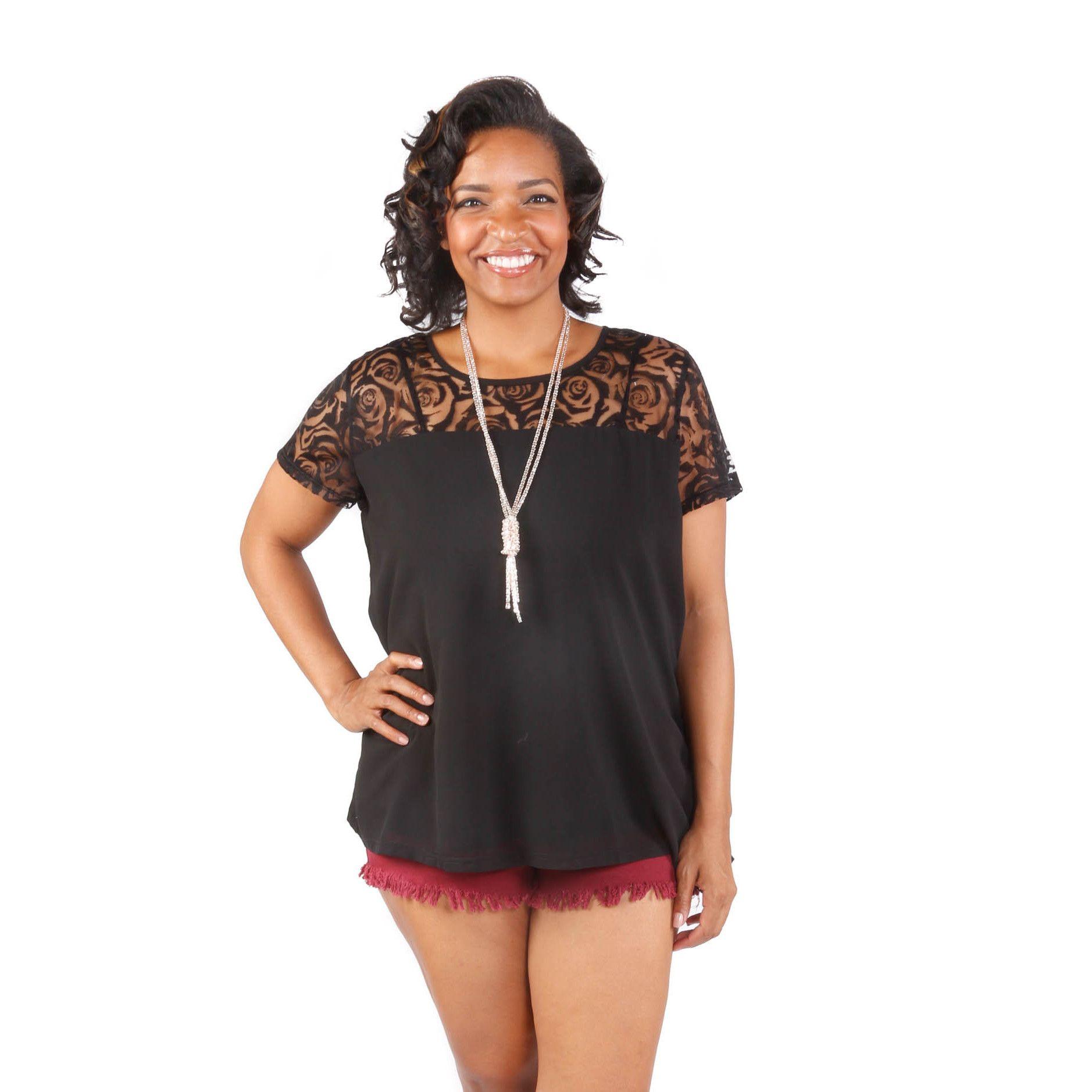 Hadari Women's Plus Size Short Sleeve Top