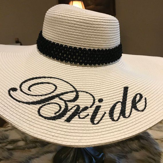 804ab260a480dd EMBROIDERED Bride Floppy Hat, Custom