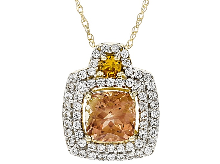 eaaceacaf Orange Oregon Sunstone 10K yellow gold slide with chain 1.23ctw in ...