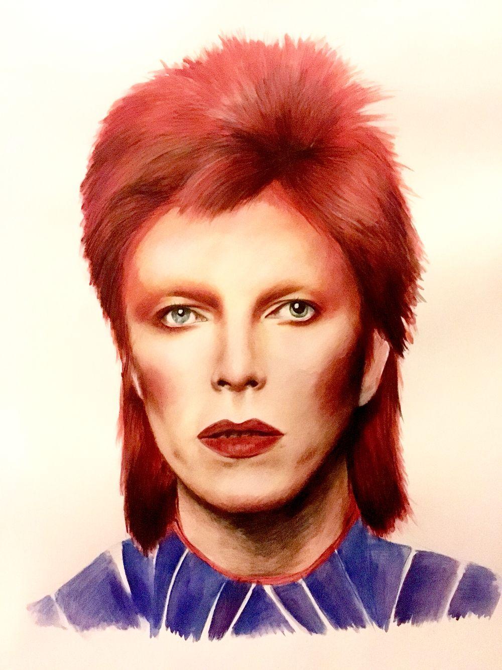 David Bowie - Watercolour paint and pencil, 2016, Victoria Mead   www.vmportraits.co.uk  #davidbowie #bowie #artist #portrait #art