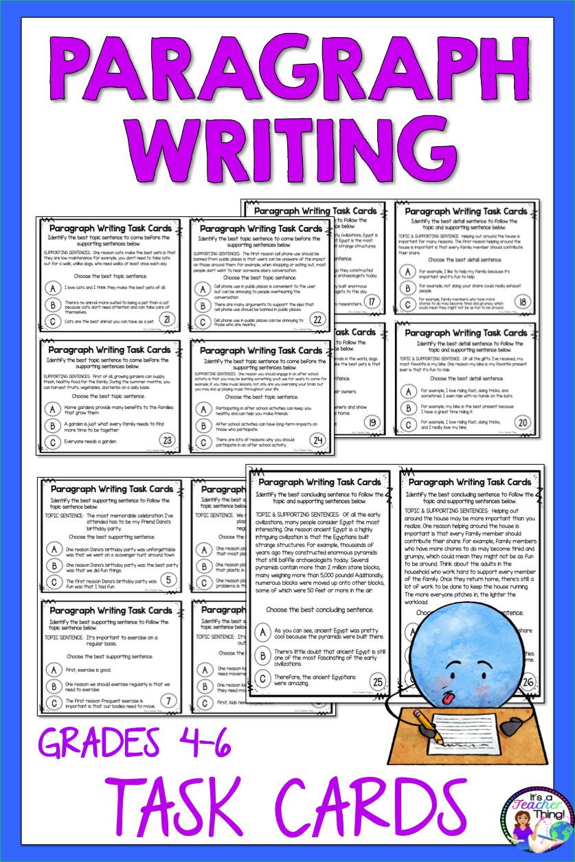 Paragraph Writing Task Cards Activity for Practice and Review of Paragraph  Structure   Paragraph writing [ 1256 x 837 Pixel ]