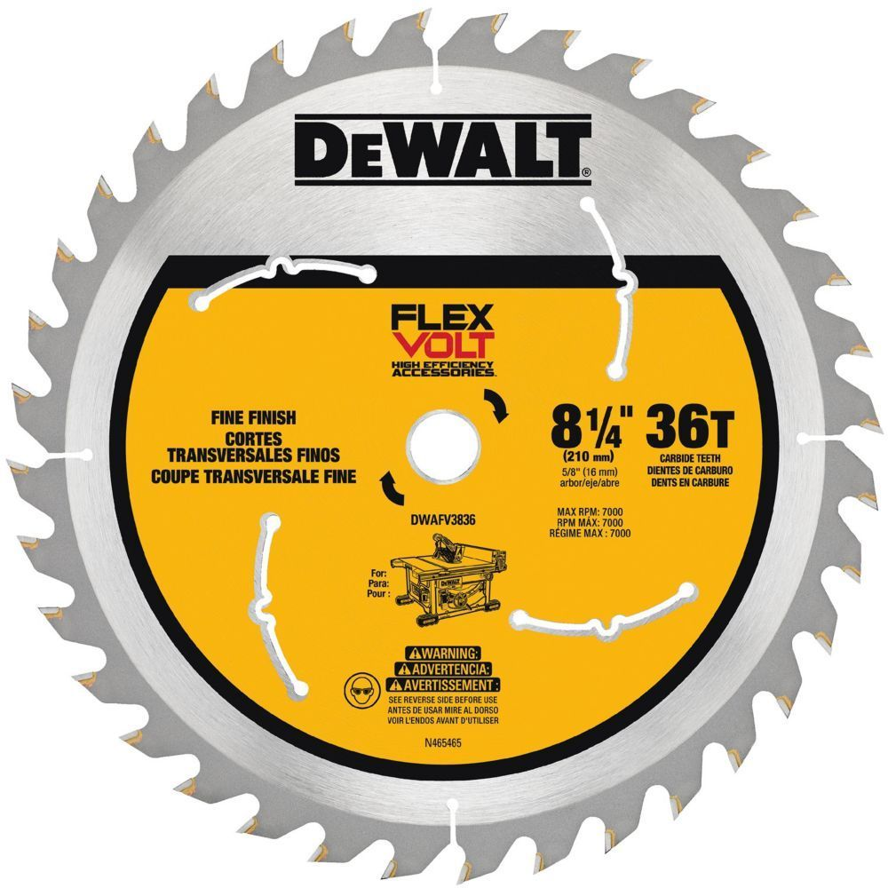 Flexvolt 8 1 4 Inch 36t Table Saw Blade Table Saw Blades Circular Saw Blades Saw Blade