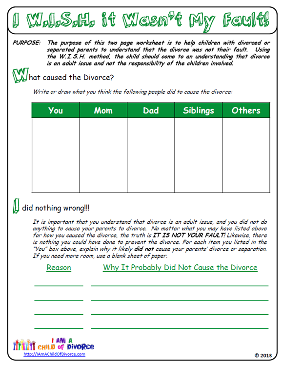 Worksheets Divorce Worksheet was my parents divorce fault this worksheet for children of helps them