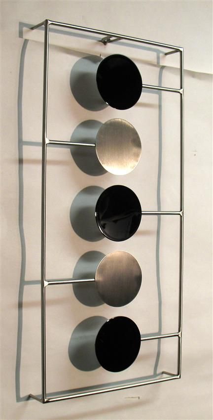 Contemporary Metal Wall Art Sculpture   Gloss Black And Brushed Stainless  Steel Part 52