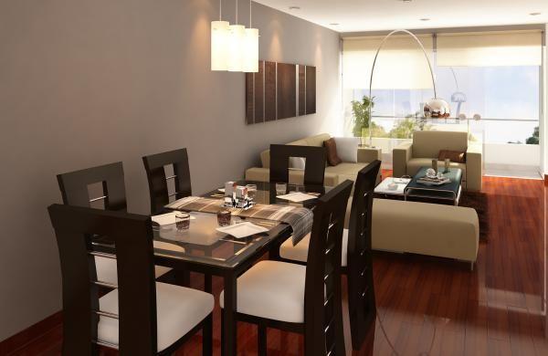 Mampara con persianas y pisos flotante color cobrizo. Mesa de ...