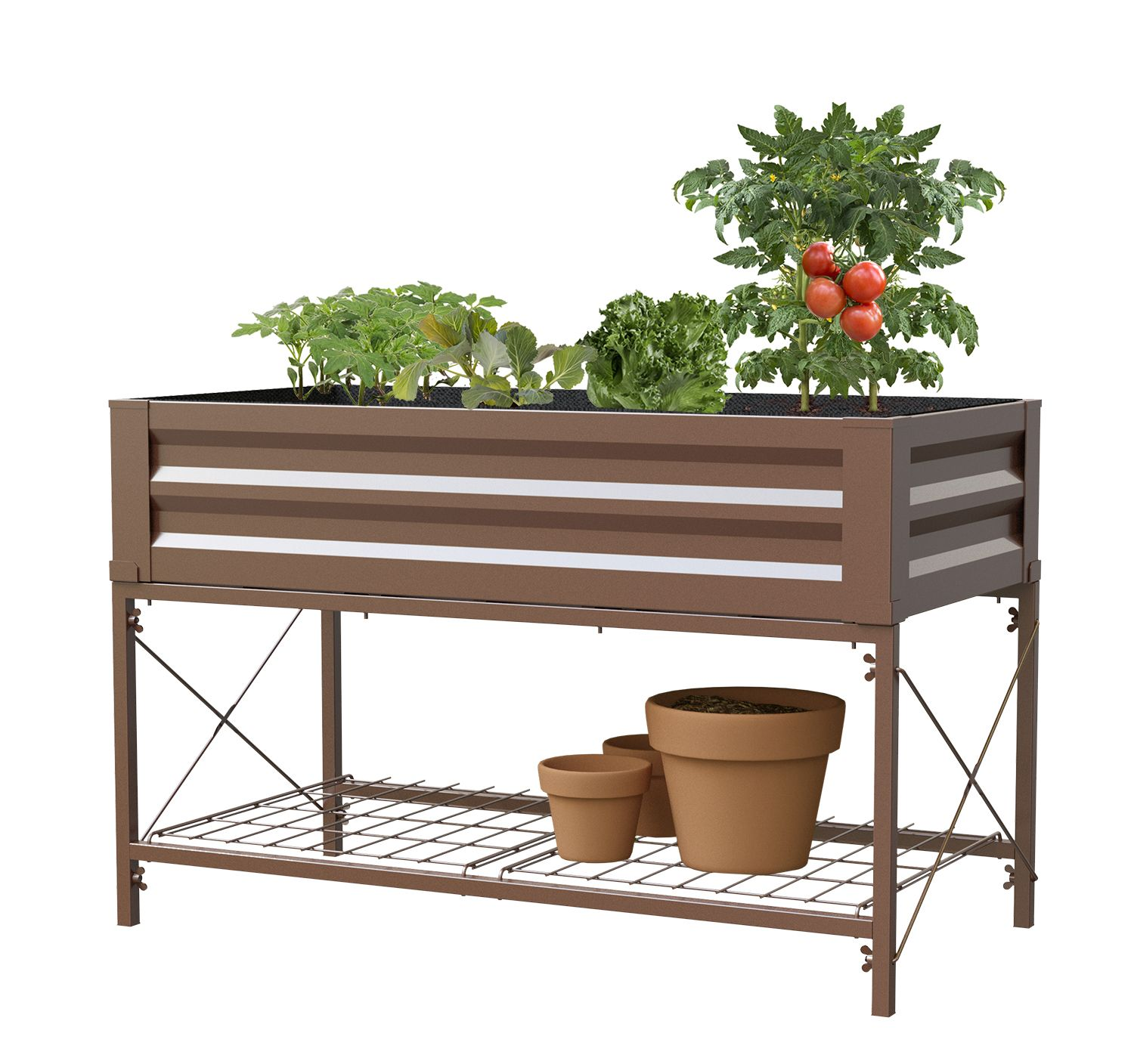 """Raised Planter Bed with Stand, Timber Brown , 47""""L x 24""""W"""