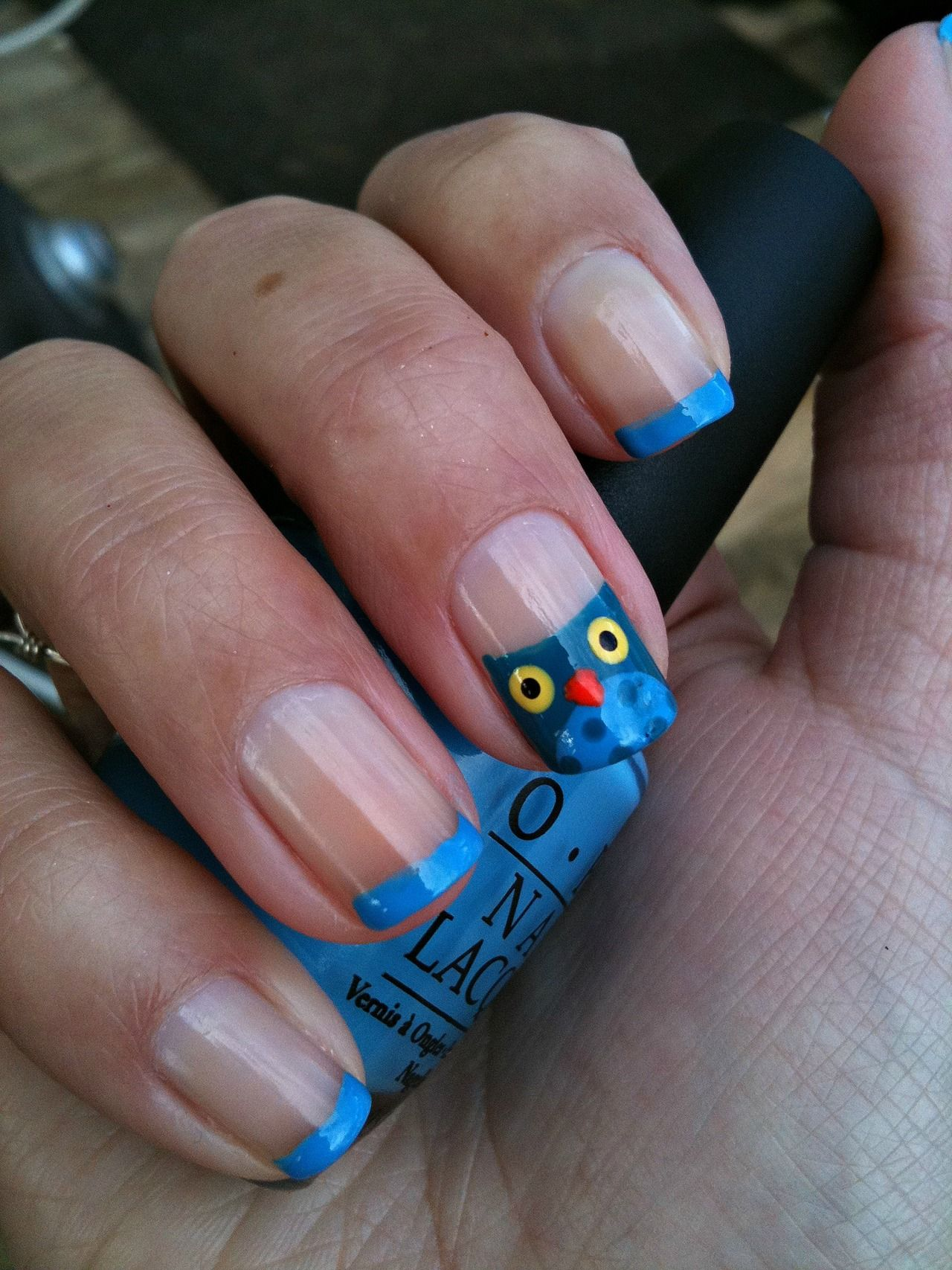 french manicure with owl accent nail | Nails | Pinterest | Accent ...