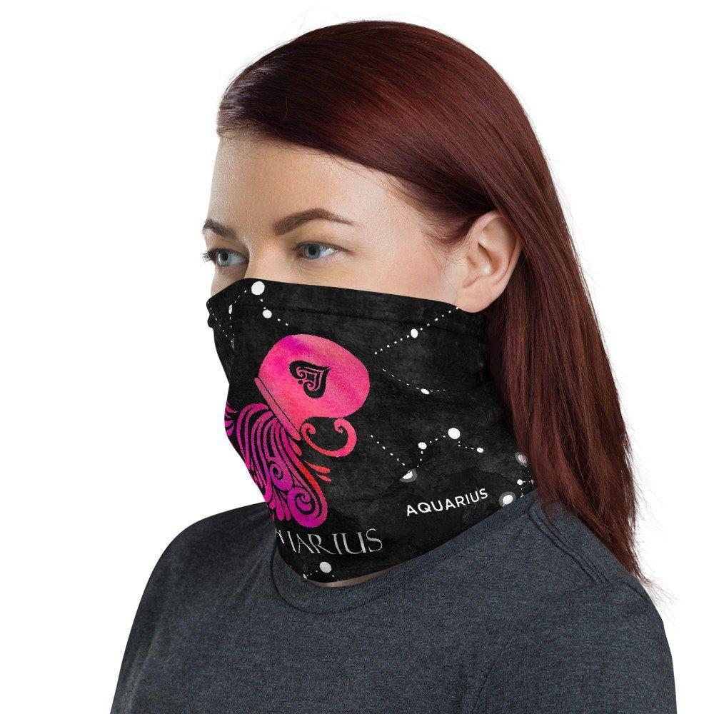 Aquarius Zodiac Sign Washable Face Mask Neck Gaiter | Astrology Mask