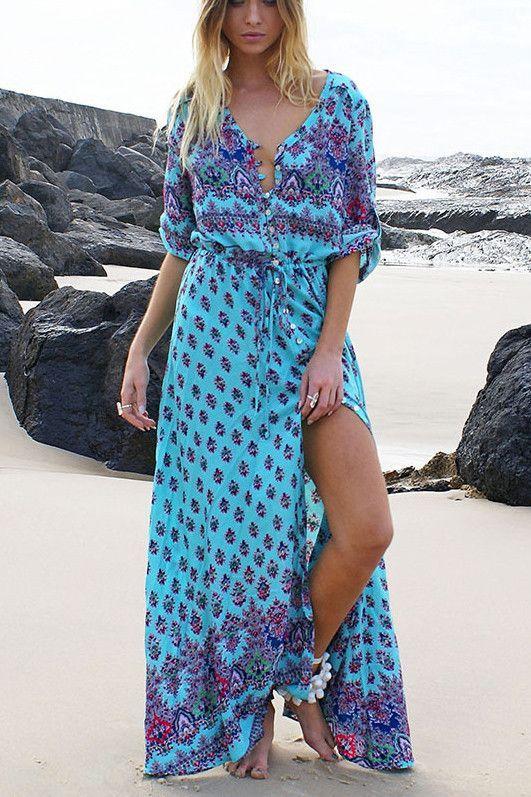 1c54621b97 Print 3/4 Sleeves Bohemian Beach Dress in 2019 | Cute Outfits ...