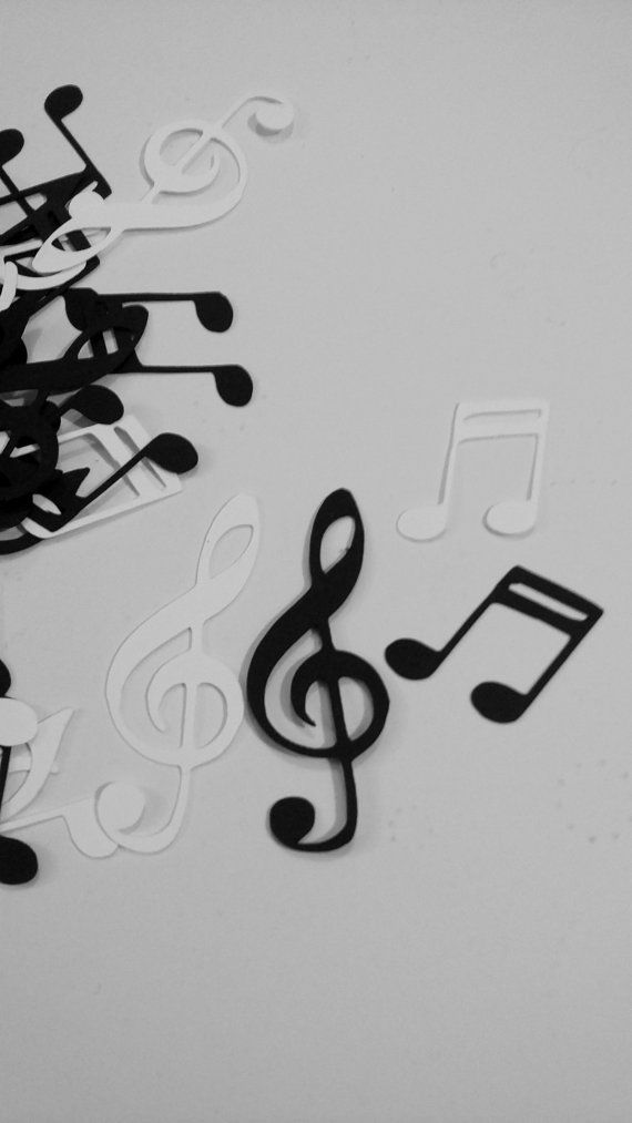 Music Note Confetti ~ Musical Theme Party Decor ~ Music Note Cut outs ~ Music Recital decor ~ Black /& White Music Notes Die Cuts