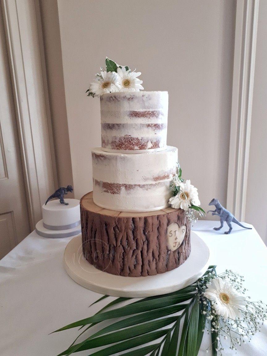 Edible bark and semi naked wedding cake Naked cake