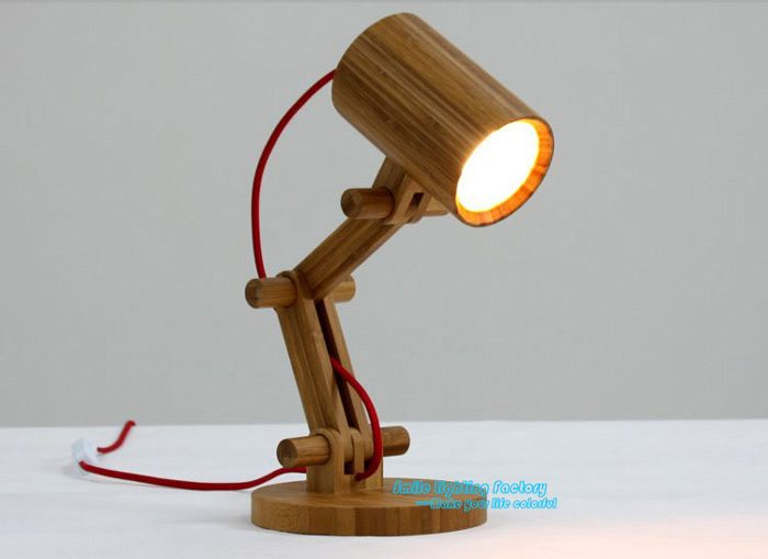 Free Shipping Creative Fashion Design Original Wood Table Lamp Contemporary  White Shade Robot Desk Light kids - Free Shipping Creative Fashion Design Original Wood Table Lamp