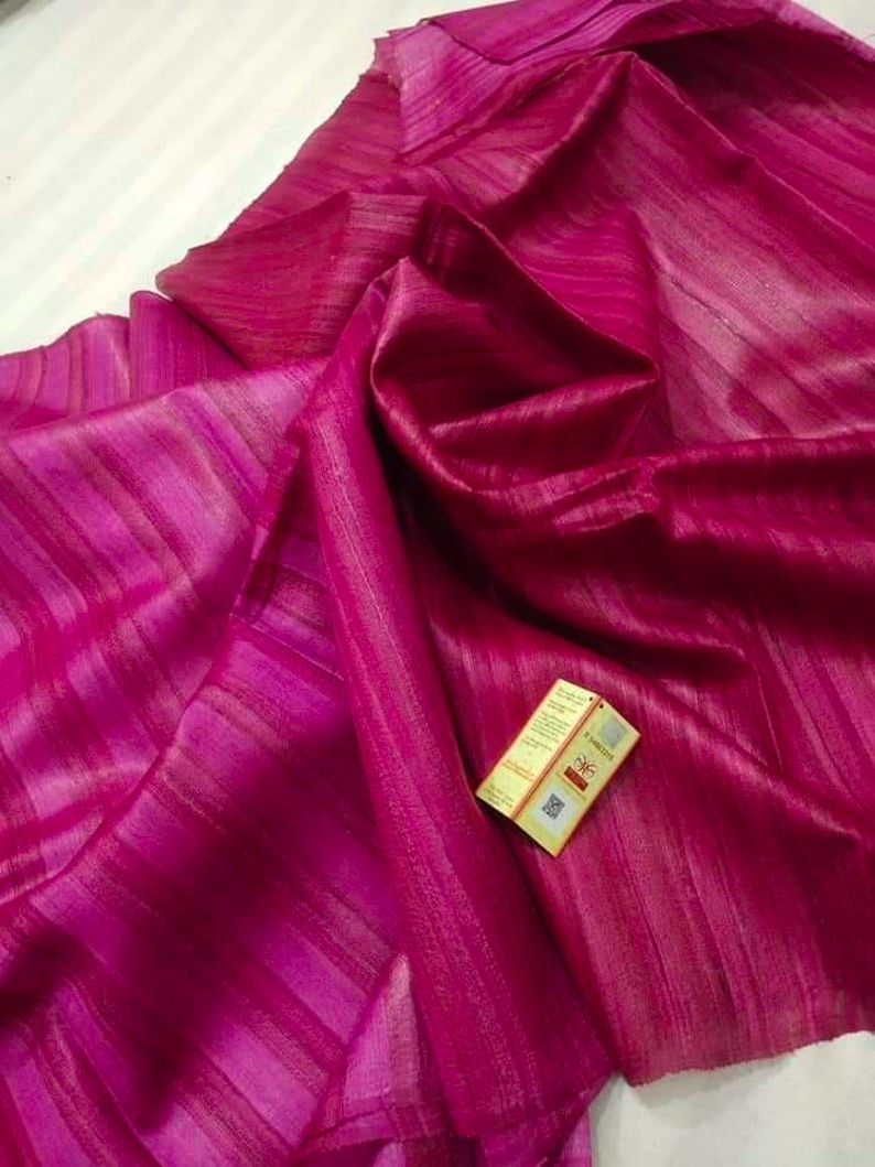 Silkmark certified ghicha tussar silk saree with running blouse piece for  party wedding wear saree