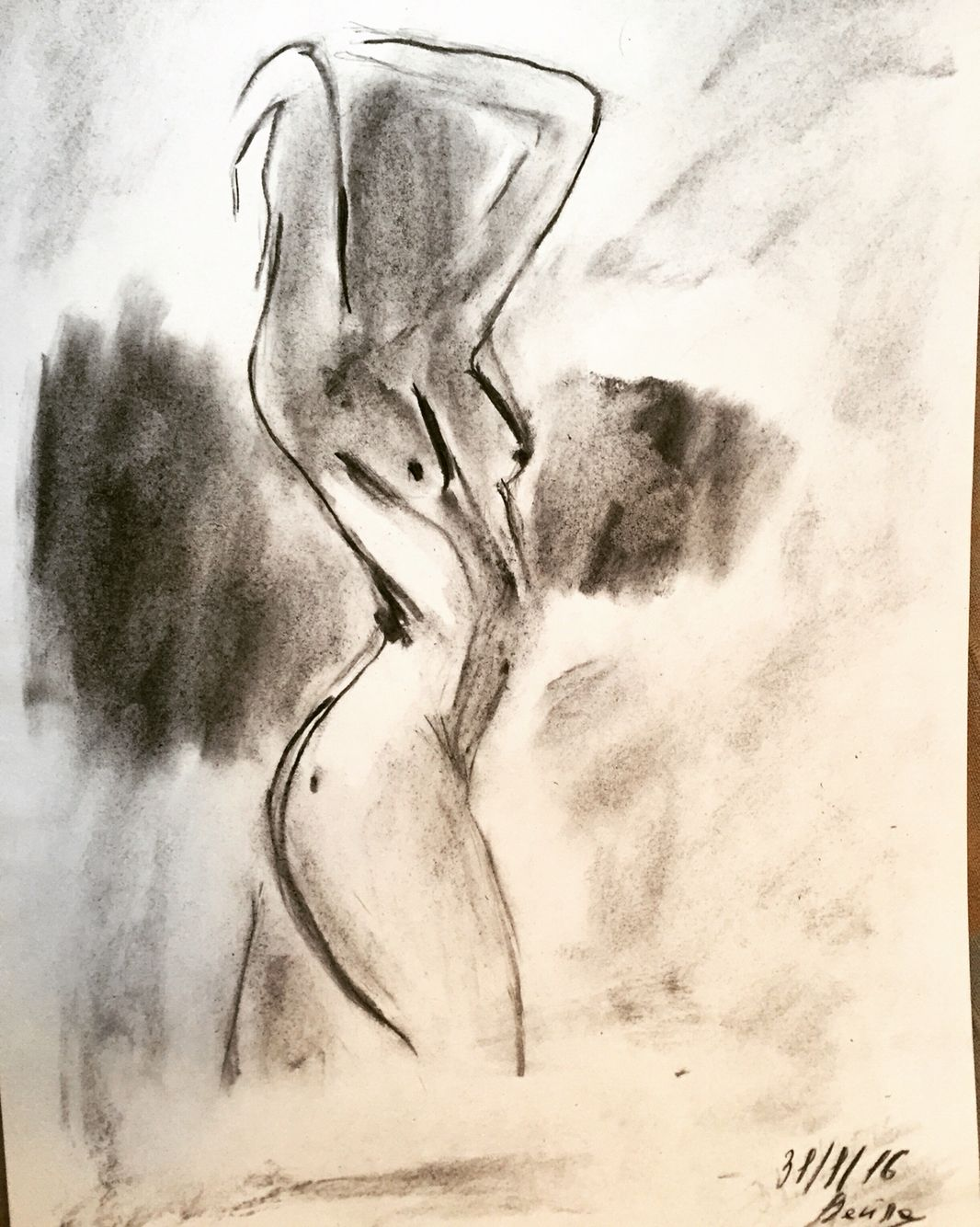 Art coal pencil black shadow woman female body nude naked drawing