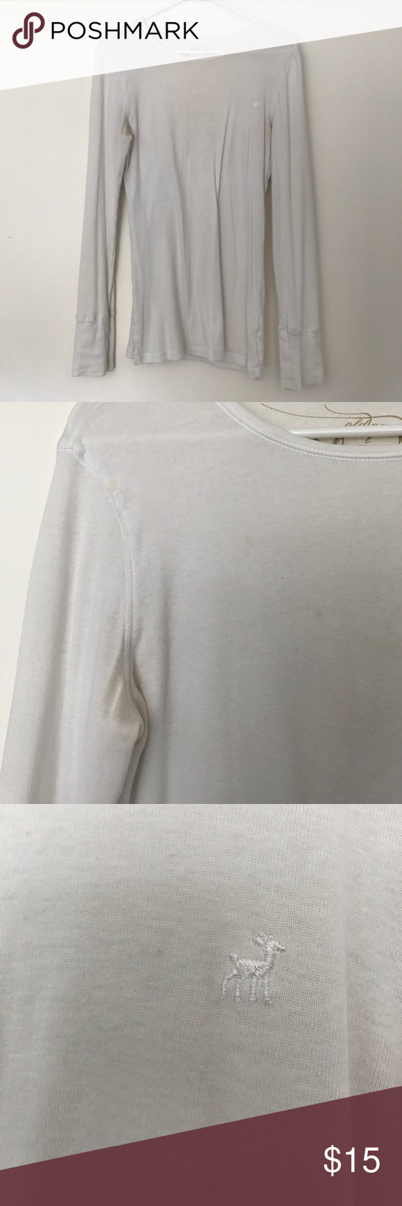 Old Navy fitted long sleeve top Old Navy fitted white long sleeve top. Some stains shown in photos Old Navy Tops Tees - Long Sleeve