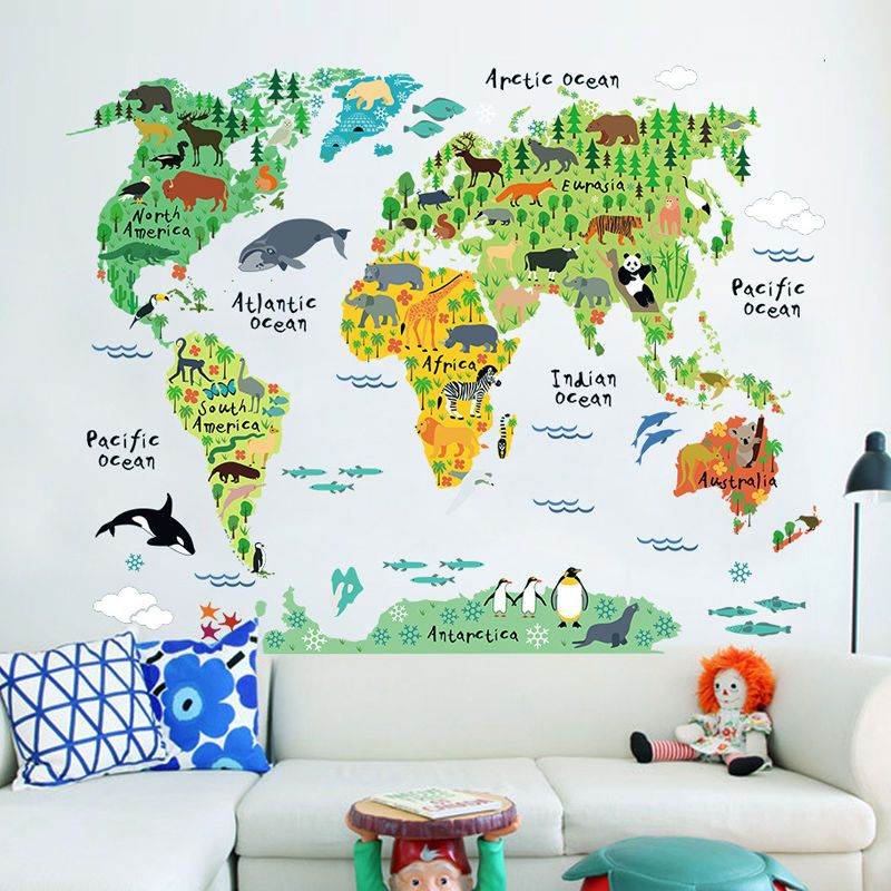 kids children bedroom living room pvc animal world map on wall stickers for kids id=89773