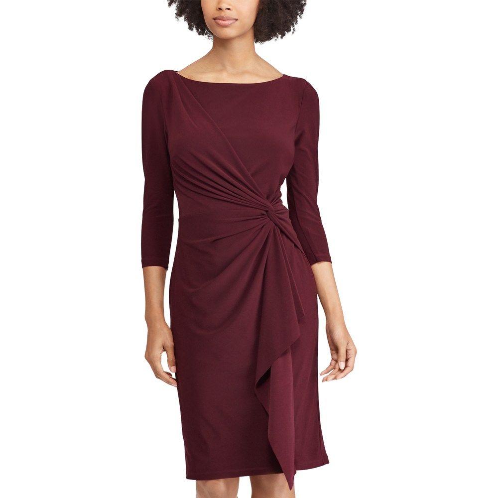 77c950b5f1c Chaps Women s Knot-Front Ruffle Sheath Dress