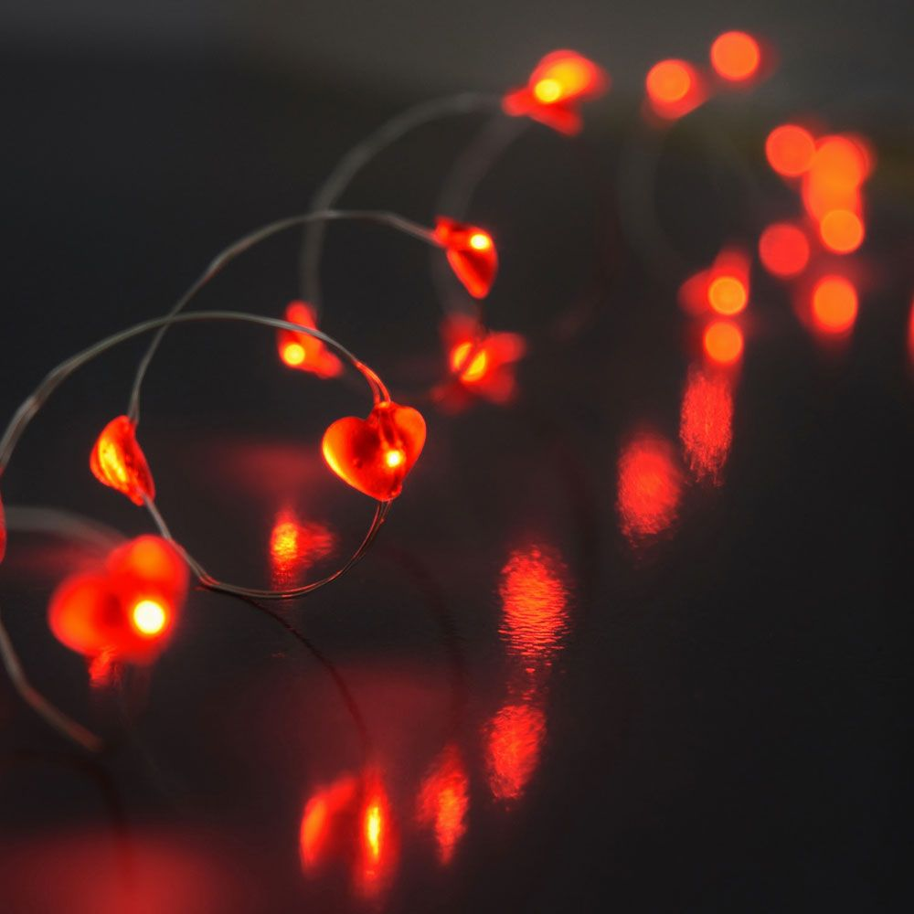 Red led acrylic heart battery operated string lights 40 led acrylic heart battery operated party string lights 40 in red mozeypictures Choice Image