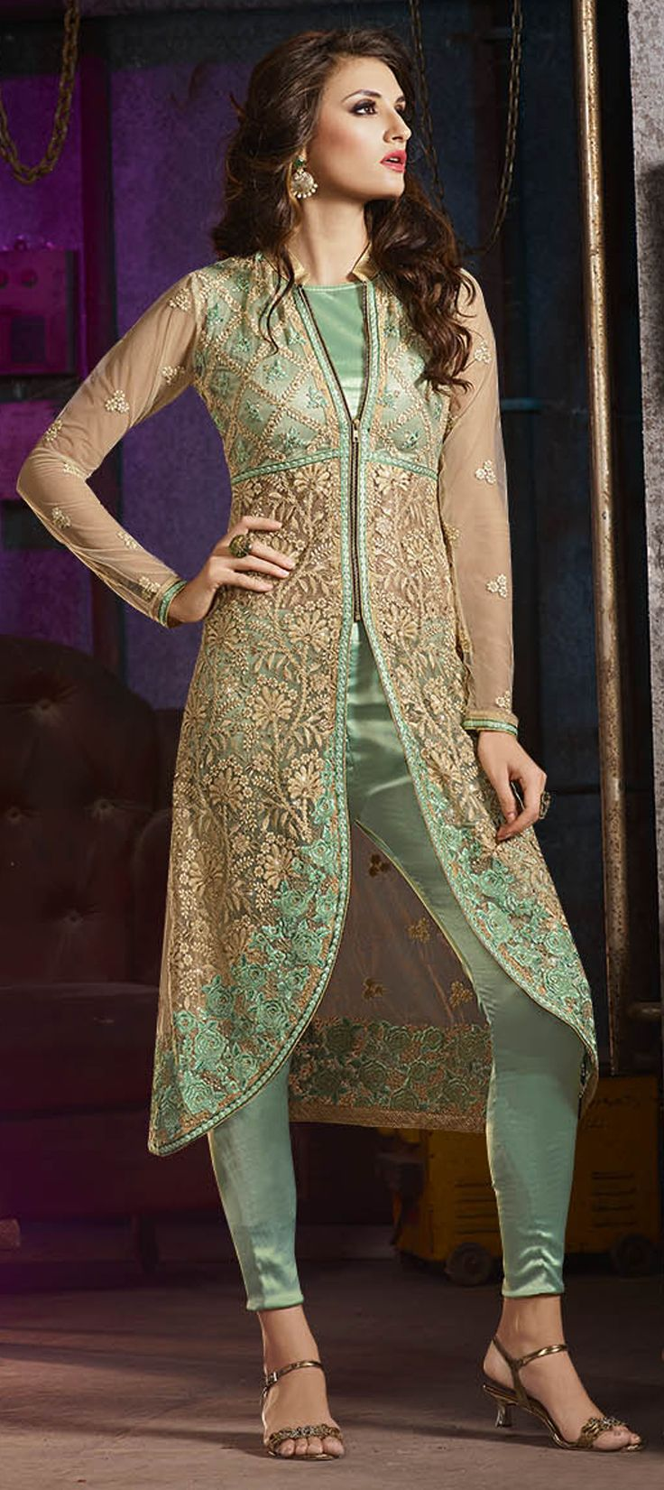 c0cc53b82d 472072: Beige and Brown, Green color family unstitched Party Wear Salwar  Kameez…