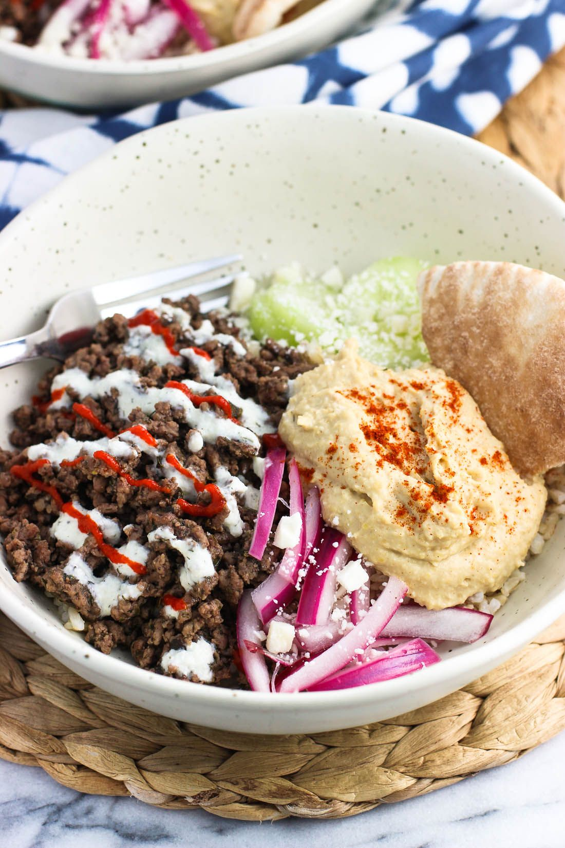 Mediterranean Spiced Beef Hummus Cucumber Yogurt Sauce Pickled Red Onion And Feta Are Served Over Brown Rice For A H Spiced Beef Ground Beef Recipes Easy Beef Recipes For Dinner