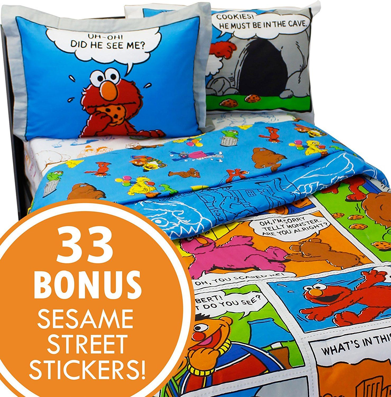 Sesame Street Full Bedding And Wall Sticker Set Elmo Cookie