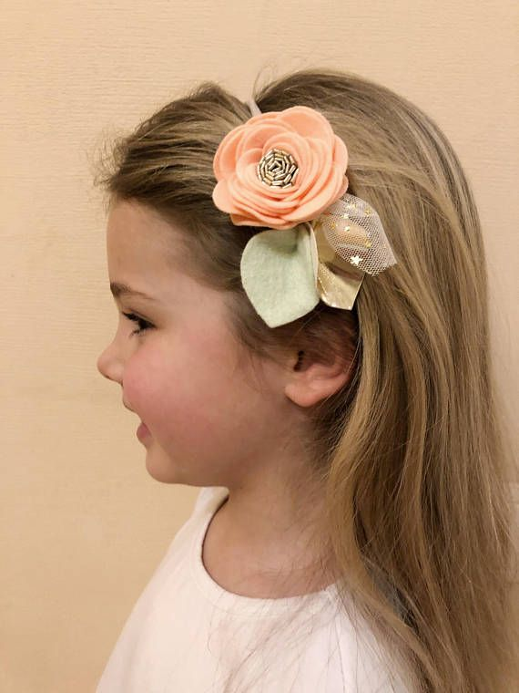 Felt flower headband for girl Flower hair tie Hair scrunchy Peach felt flower Felt brooch flower Ponytail holder with flowers Pink hair clip #feltflowerheadbands