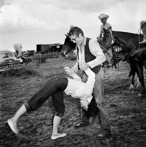 James dean and liz taylor off set of the film Giant having a little fun