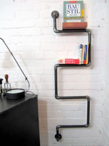 Designer wandregal b cherregal bauhaus loft industriedesign metall regal stahl ebay - Wandregal bauhaus ...