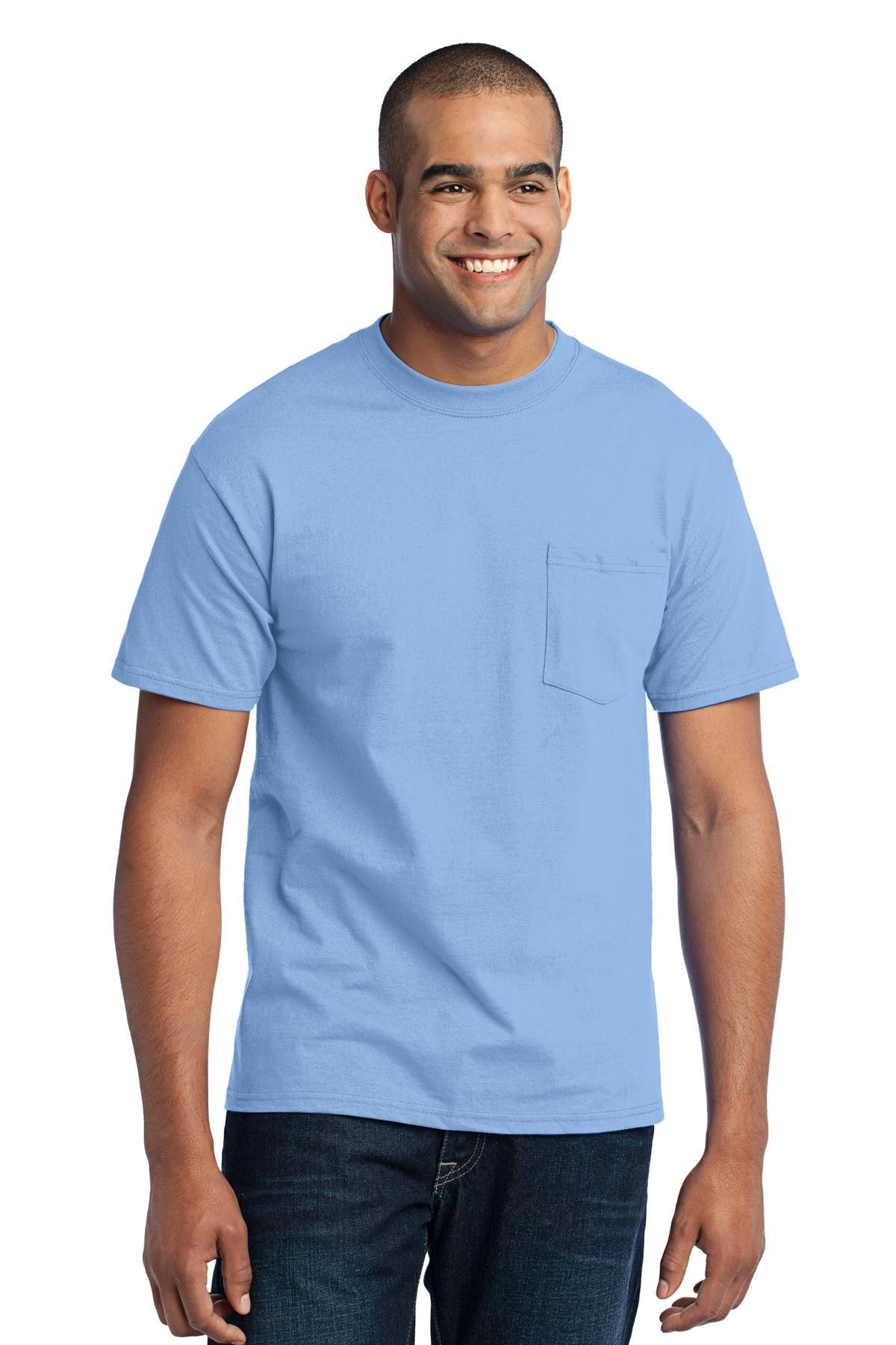 Port & Company Tall 50/50 Cotton/Poly T-Shirt with Pocket. PC55PT Light Blue