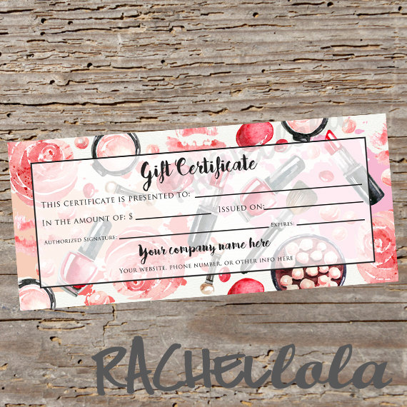 Custom Red Makeup Printable Gift Certificate Template Spring