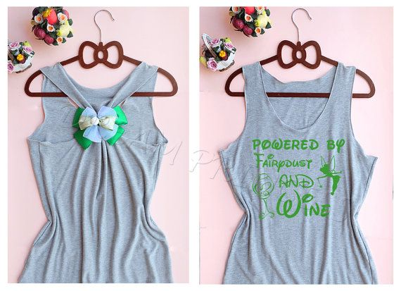 Powered by Faieydust and Wine Tinkerbell Disney Princess tank : Disney tank top / Tank top / Disney Shirt / Princess tank top / Disney Bow
