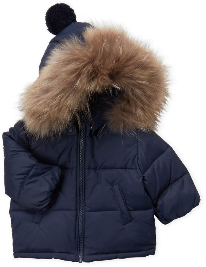 6d22f619d Baby Essentials Bomboogie (Newborn/Infant Boys) Navy Real Fur Trim Hooded  Coat
