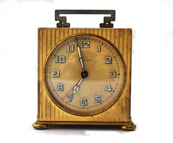 Antique Zenith Art Deco Travel Table Alarm Clock Vintage Miniature Boudoir  Voyage Carriage Clock