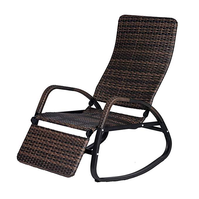 Amazon Com Buyhive Patio Rocking Chair Rattan Wicker Indoor Outdoor Recliner Lounger Garden Yard Rocker Rattan Rocking Chair Outdoor Wicker Outdoor Recliner