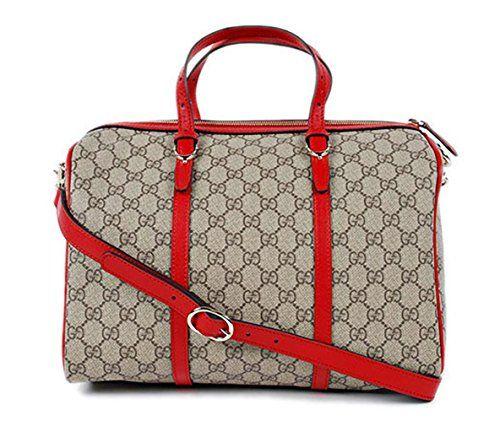 370e3c95e4a8 Gucci Gg Supreme Handbag 2-way Boston Bag Beige Red Luxury Handbags