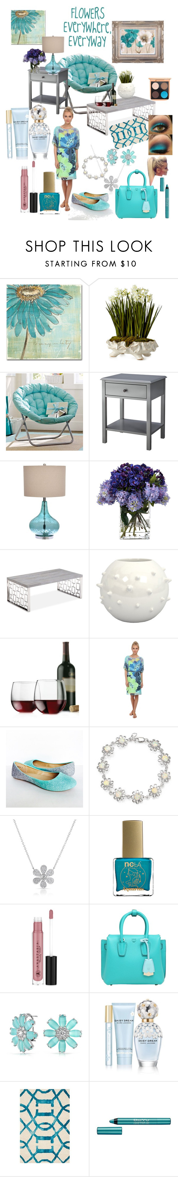 """""""Flowers are Everywhere"""" by snowflakeunique ❤ liked on Polyvore featuring interior, interiors, interior design, home, home decor, interior decorating, Trademark Fine Art, John-Richard, PBteen and Threshold"""