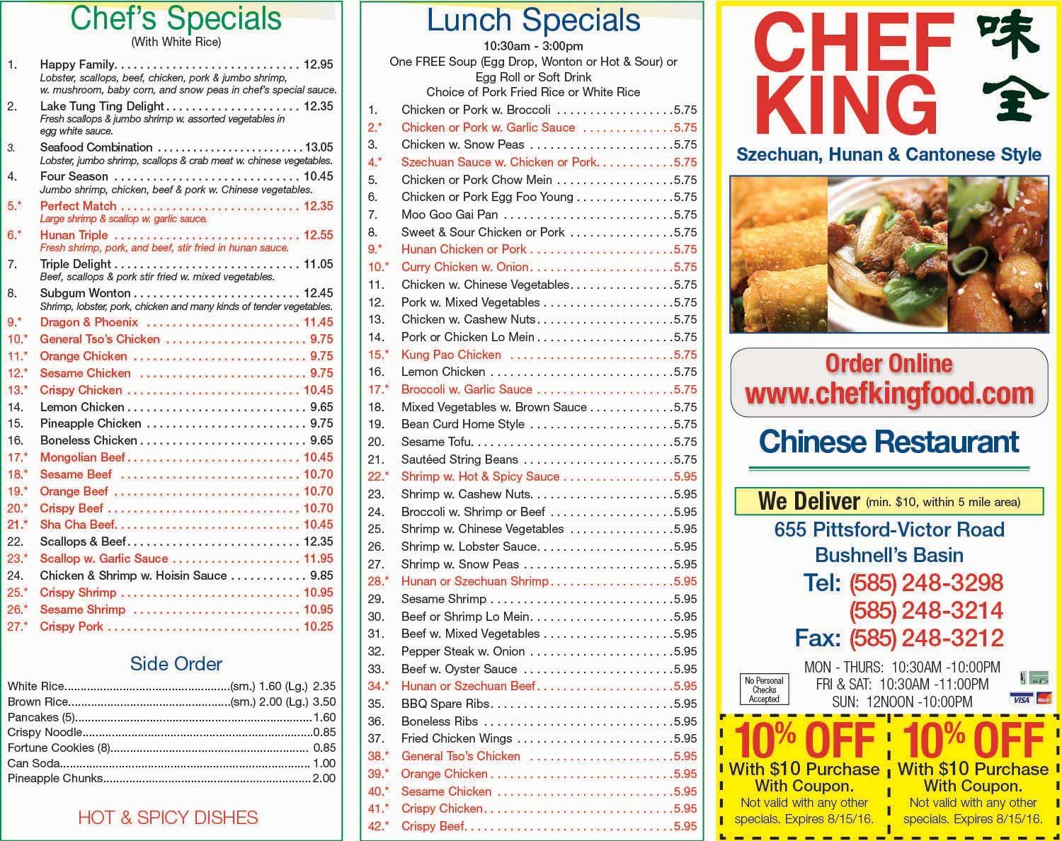 Chef King With Savings On Your Lunch And Dinner Meals We Deliver Check Out Our Lunch Specials Fried Lunch Specials Garlic Sauce For Chicken Pork Fried Rice