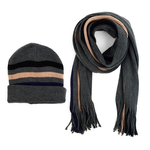 Photo of Men's Winter Knit Striped Scarf and Hat Set – Style 1