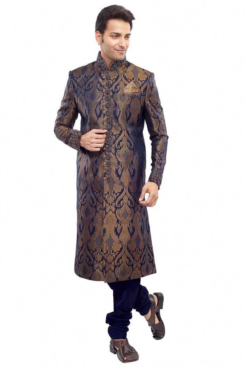 Sapphire Blue #Benarasi Dupion Silk Embroidered #WeddingSherwani Sku Code: 430-6029SH638519 US $375.00 http://www.sareez.com/sapphire-blue-benarasi-dupion-silk-embroidered-wedding-sherwani.html