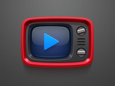 Red Retro Tv Icon Tv Icon Retro Tv App Icon Design