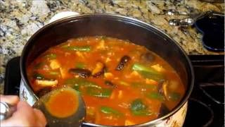 How to Make Spicy Korean Tofu Soup aka DaenJang Jjigae (두부찌개) (된장찌개), via YouTube.