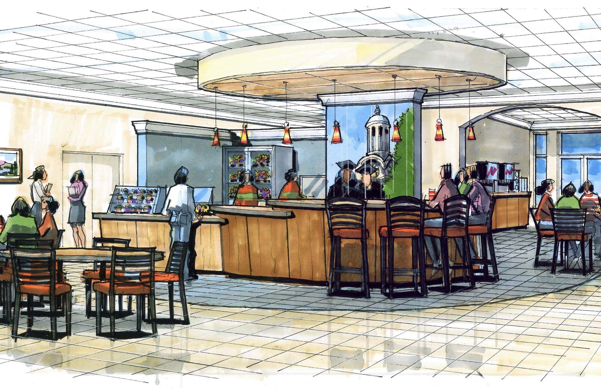 coffee shop interior sketch - Google Search | Interior ...