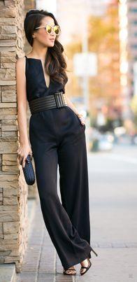 ce83335a4a Women s fashion wide leg jumpsuit with waist belt.