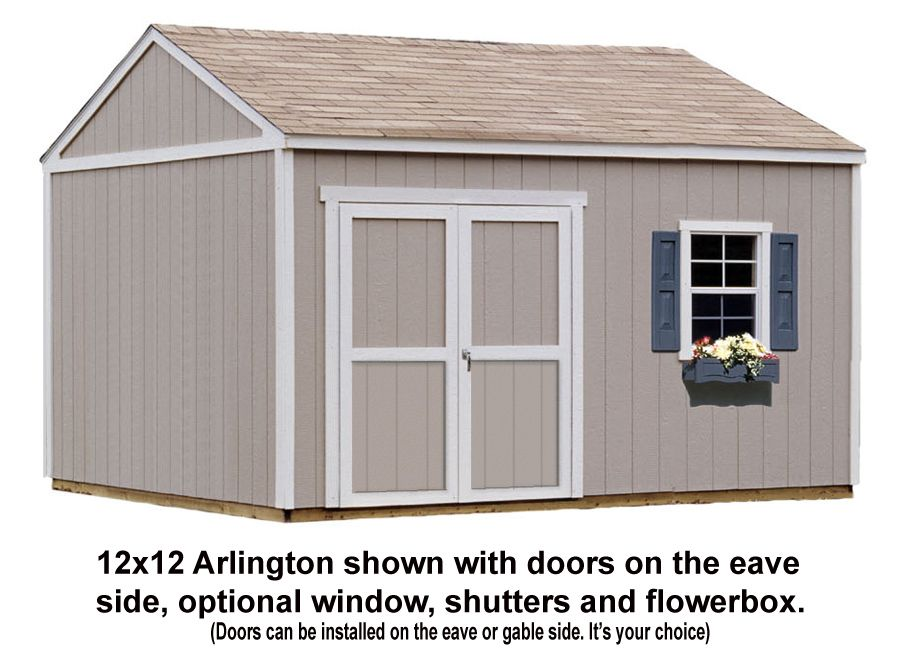 12x12 Shed Shown With Doors On The Eave Side Optional Window Shutters And Flowerbox Shed Building Plans Outdoor Sheds Shed Plans